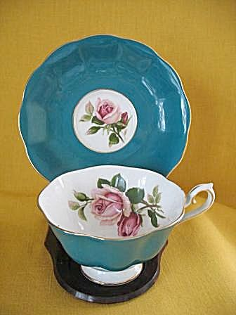 Royal Albert Green and White Cup and Saucer