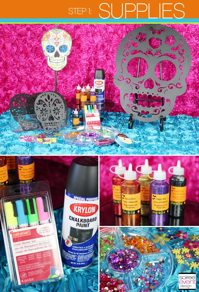 Diy how to make day of the dead sugar skull party for Day of the dead craft supplies