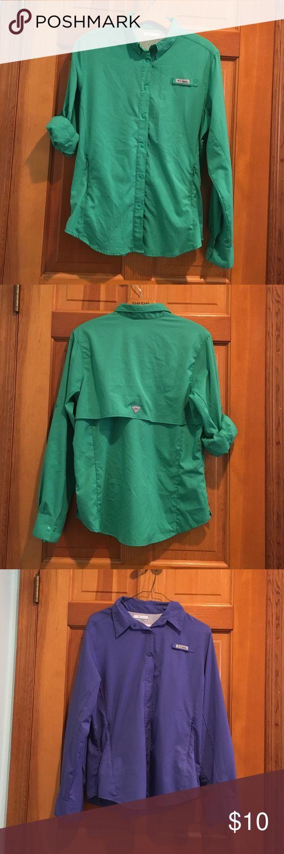 Columbia Sportswear PFG shirt Columbia Sportswear PFG Fishing Shirt - Long Sleeve- size M. Green and Purple Columbia Tops Button Down Shirts