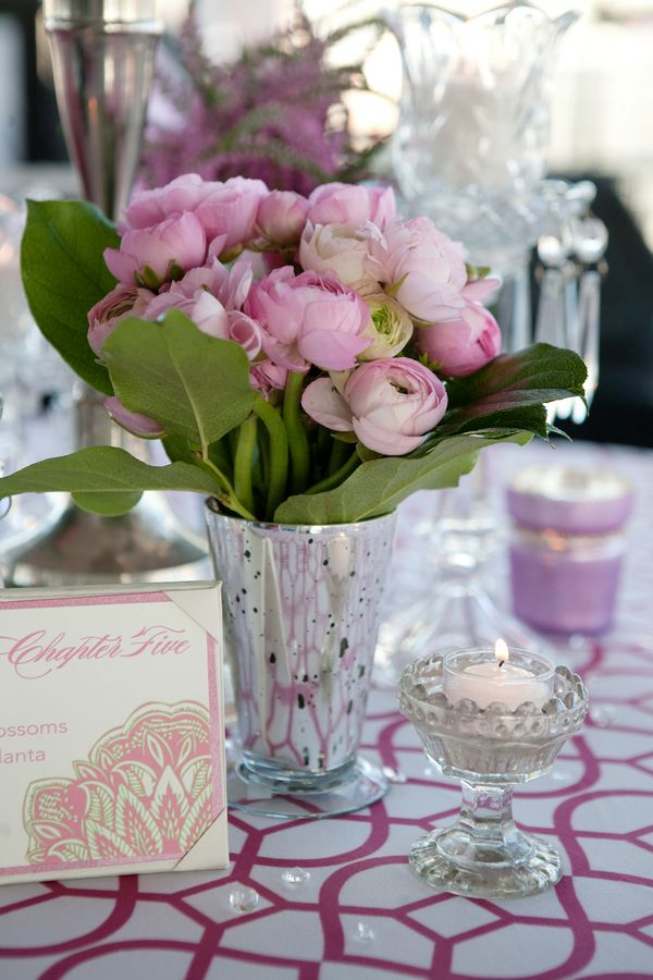 Pale pink ranunculus in a silvery mercury glass mint julep cup & a footed silver mercury glass tealight