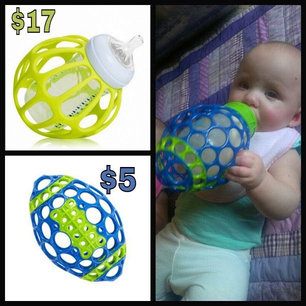 I honestly almost just purchased this item and I thought there must be something I can make! Baby bottle holder assist trainer DIY