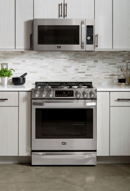LG Studio's new line of kitchen appliances combine the best in innovation with a sleek, sophisticated look inspired by renowned interior designer and LG Studio artistic advisor, Nate Berkus. The new LG Studio Gas Slide-in Range and Over-the Range Microwave Oven deliver superior cooking precision and performance, paired with a sophisticated, pro-style design that compliments any kitchen. (LG Electronics USA)