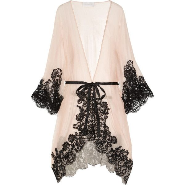 Rosamosario Mezza Luna silk-crepe and lace robe ($495) ❤ liked on Polyvore featuring intimates, robes, lingerie, underwear, pajamas, neutral, black robe, lace lingerie, black lace robe and lingerie robe