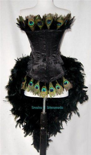 Peacock trimmed corset.: Peacock Feathers, Peacock Costume, Peacocks, Halloween Costumes, Corsets, Burlesque Costumes, Saloon Girls, Costumes Ideas, Fantasy Costumes