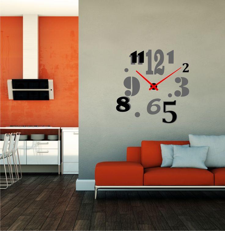 reloj de pared moderno números vinilos adhesivos
