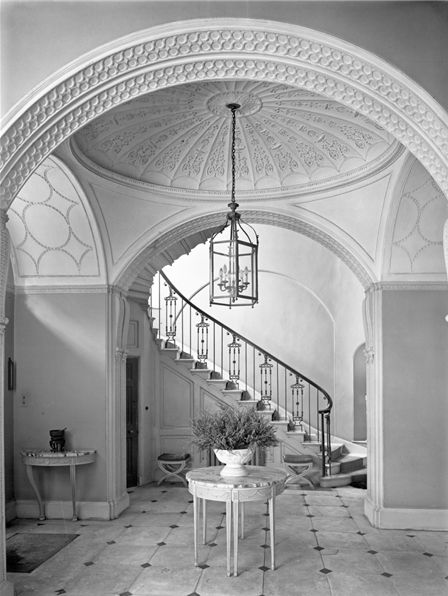 The foyer and stair hall at no 1 bedford square london for Square spiral staircase plans hall