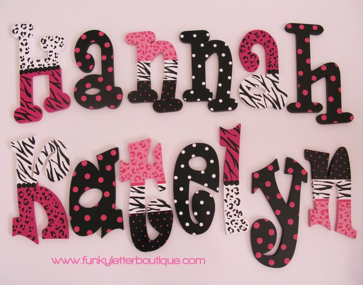 Zebra Cheetah Print Hot Pink Tween Hand Painted Wooden Name Letters Personalize Your Space. $10.95, via Etsy.