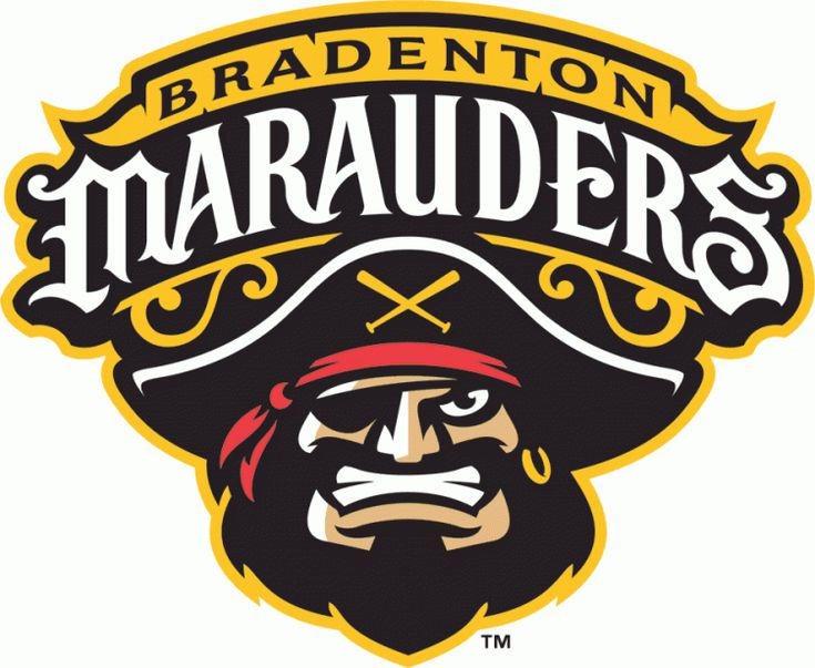 Bradenton Marauders Primary Logo (2010) - A bearded pirate wearing a hat and red bandana under tean name in black, yellow and white