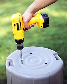 Drilling a few half-inch holes in the bottom of your garbage can makes cleaning it easier and rain water will drain right out if the lids gets blown off.  Thanks Martha!