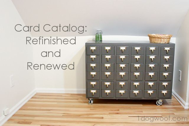 Repurposed and Refinished Card Catalog Craft Storage   http://www.1dogwoof.com/   #upcycle #refinish #organize