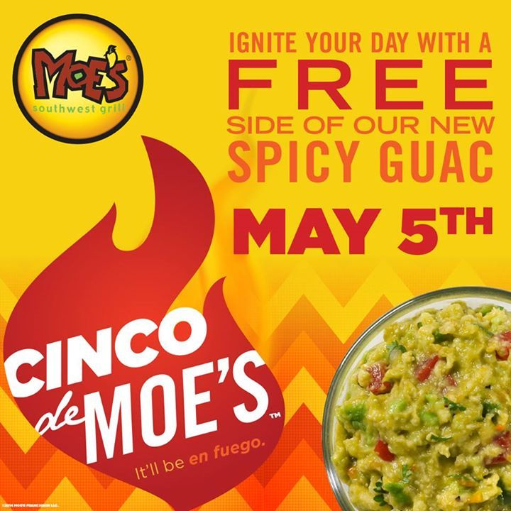 Pinned April 20th: Free spicy guacamole the 5th at #Moes Southwest Grill restaurants #coupon via The Coupons App