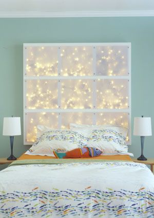 DIY HeadboardIdeas, Christmas Lights, Head Boards, String Lights, Diy Headboards, Bedrooms, Wood Frames, Diy Light, Lights Headboards