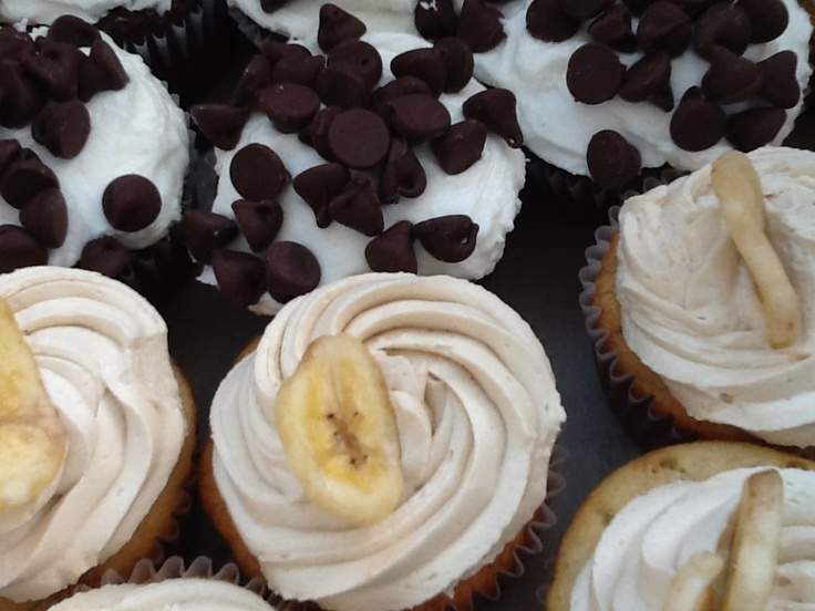 Banana Cupcake with a Maple Buttercream, topped with a banana chip!