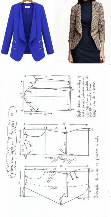 Ателье дизайнерской одежды: шитье, крой, вязаниеБлейзер. Размеры 36-56 в файле PDF