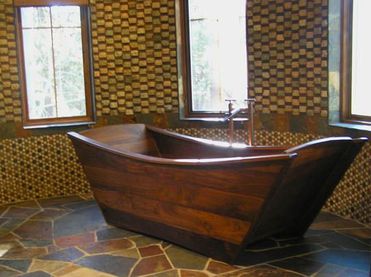 Delightful Double Wooden Bathtub  Walnut Http://bath In Wood.com