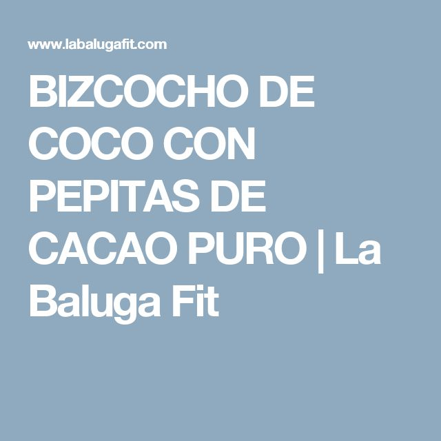BIZCOCHO DE COCO CON PEPITAS DE CACAO PURO | La Baluga Fit