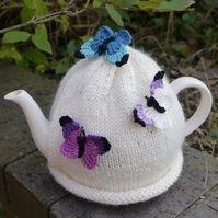 Cream Butterfly Tea Cosy