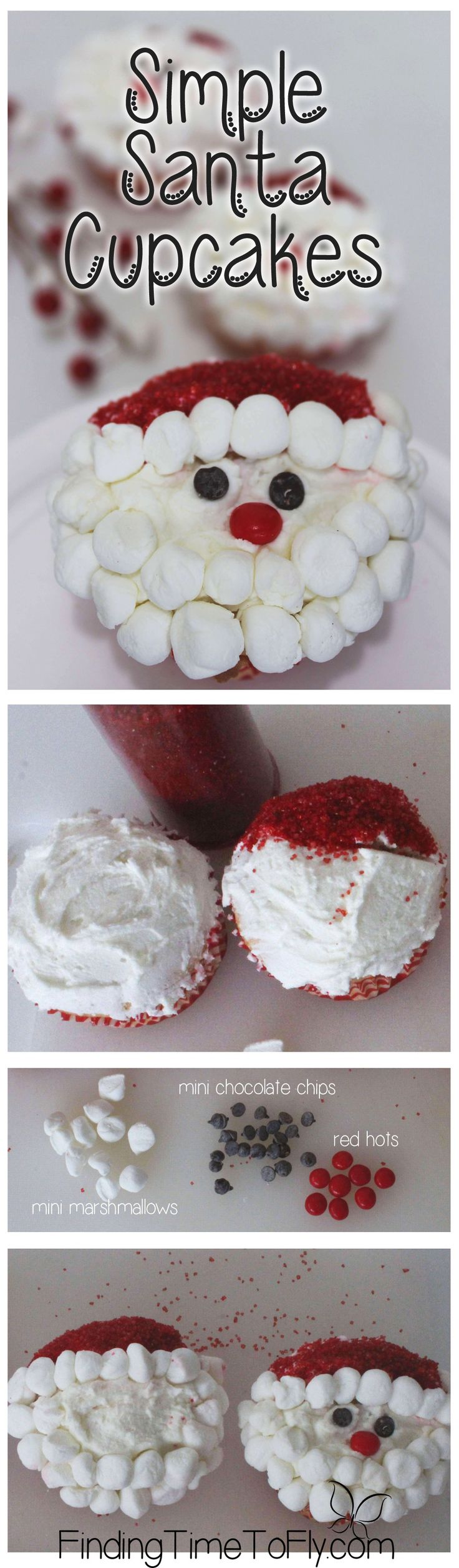 These Simple Santa Cupcakes are adorable! They look easy enough to make with the…