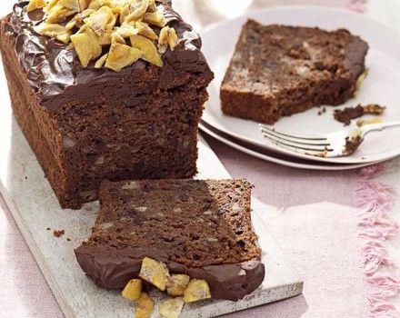 Κέϊκ σοκολάτας με μπανάνα και γλάσο σοκολάτας