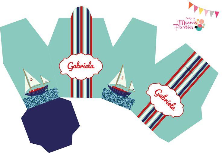 Cajita recuerdos fiesta nautica tamaño A3. Visitanos en Facebook!