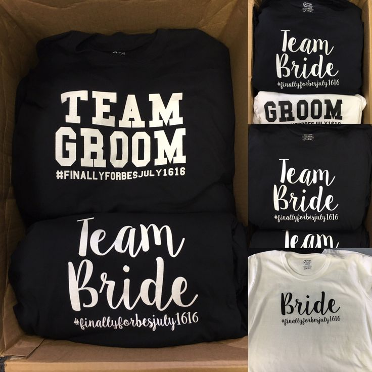 Bride and groom tshirts, bridal party shirts, team bride and team groom shirts for wedding, pictures for bridal shower by GameDayTutus on Etsy