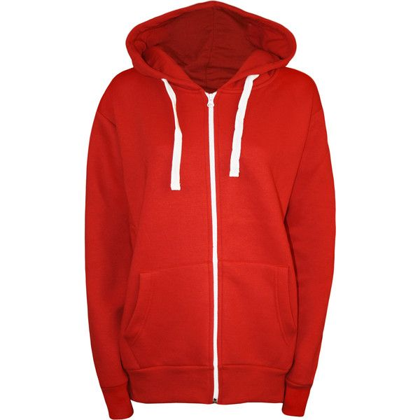 Samantha Plain Zip Hoodie ($23) ❤ liked on Polyvore featuring tops, hoodies, red, red zipper hoodie, red zip hoodie, zip hooded sweatshirt, long hooded sweatshirt and zip hoodie