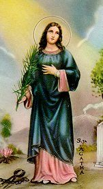Saint Agatha of Sicily pray for us and nurses, firefighters and against breast cancer and natural disasters.  Feast day February 5.