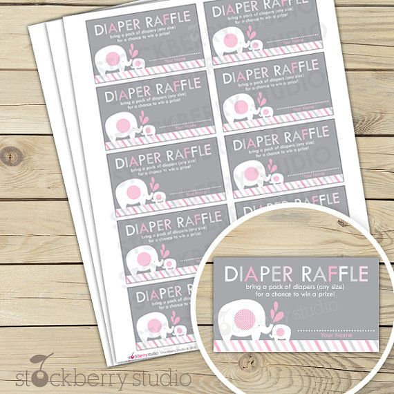 Pink and Gray Elephant Baby Shower Diaper Raffle Tickets - Instant Download
