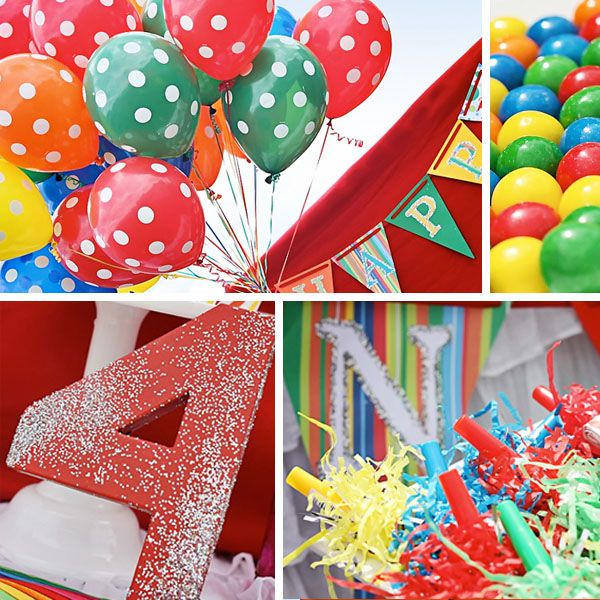 Clown Themed Birthday Party! also good ideas for a rainbow party or a circus party