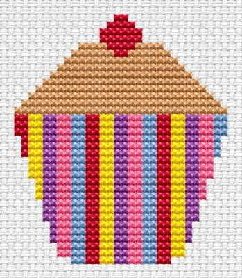 Sew Simple Cup Cake cross stitch kit from Fat Cat Cross Stitch Finished size approx 6.9cm x 8cm. Kit contains 11ct white aida fabric, stranded embroidery cotton, needle, colour chart and instructions. A brand new kit will be sent directly to you by Fat Cat Cross Stitch - usually within 2-4 working days © Fat Cat Cross Stitch
