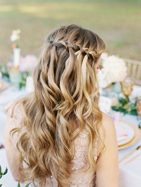 braided mermaid hair - photo by Emily Katharine Photography http://ruffledblog.com/watercolor-wedding-at-ever-after-barn