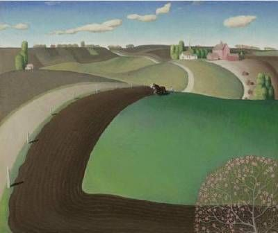 yama-bato:  Spring Plowing by Grant Wood, 1891-1942 [+]