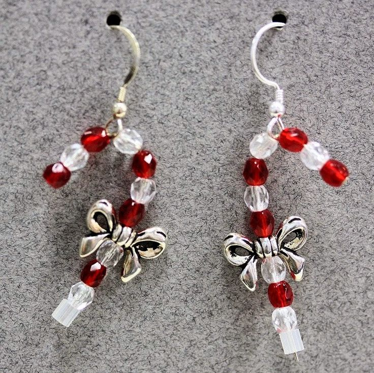 "Beading the ""Bead World"" Way: Candy Cane Earrings: Learn to make these adorable DIY Christmas earrings in our free holiday tutorial.  Exclusively from Bead World Inc."