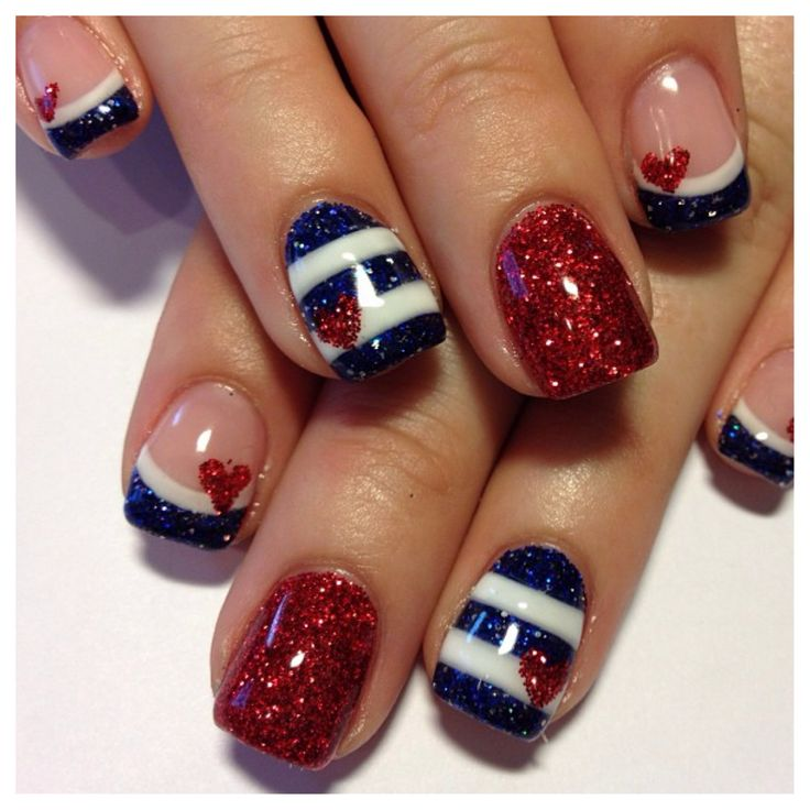 4th of July Nails - But instead of hearts I should do candles, since it's my b-day after all!