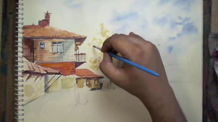 Watercolor Landscape Painting Speed Art Drawing