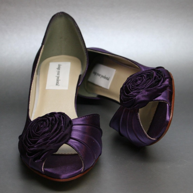 Purple Wedding Shoes Kitten Heels With Single Rosette Adornment 165 00 Via