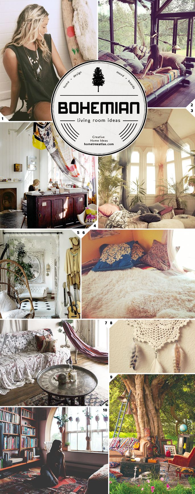 boho room ideas | The Free Spirit: Bohemian Living Room Ideas | Home Tree Atlas