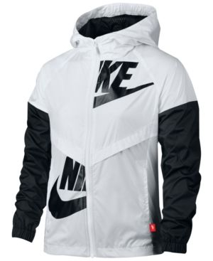 Nike Windrunner Jacket, Big Girls (7-16)  - White/Black XL