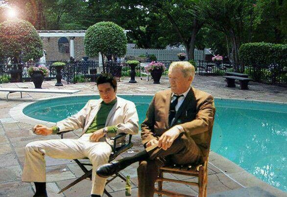 """Photoshopped. Elvis and his dad are originally sitting on set for the film, Live A Little, Love A Little. Check out the outfit Elvis is wearing, it is from that film. Vernon also had a cameo in the film. Good Photoshopping was done though:)"""