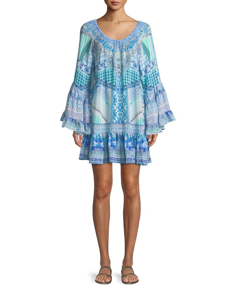 CAMILLA V-Neck Bell-Sleeve Printed Silk Dress $595 FREE S&H (Compare Elsewhere at $650 + S & H). Weekday Order Pick Up also Available - MIRABELLE West Hollywood - ShopMirabelle.Com