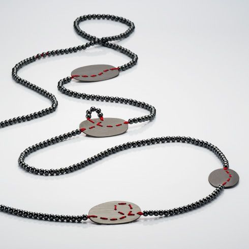 Brigitte Adolph Silver Amp Hematite Loop Necklace Orro