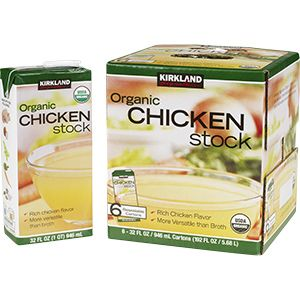 Kirkland (Costco) Signature Organic Chicken Stock, 6/32 oz Only one I've found that has no sugars or gluten at all!  Great flavor and price!