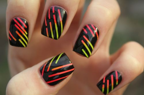 Neon Stripes (sticker tape tech): Nails Art, Nailart, Nails Design, Black Nails, Naildesign, Parties Nails, Neon Nails, Sweet Nails, Stripes