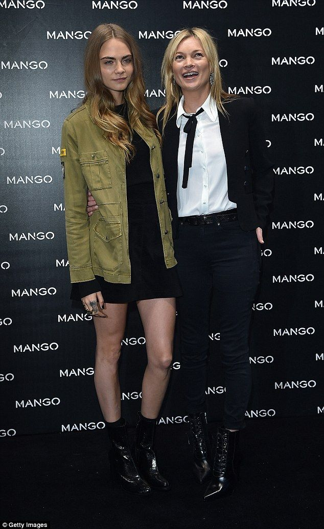 Supermodels unite! Cara Delevingne and Kate Moss joined forces at the new Mango store opening in Milan on Wednesday, as Milan Fashion Week got underway