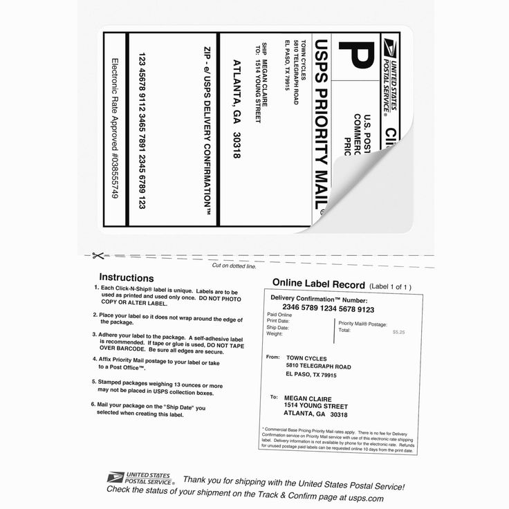 Usps Priority Mail Label 228 Word Template In 2020