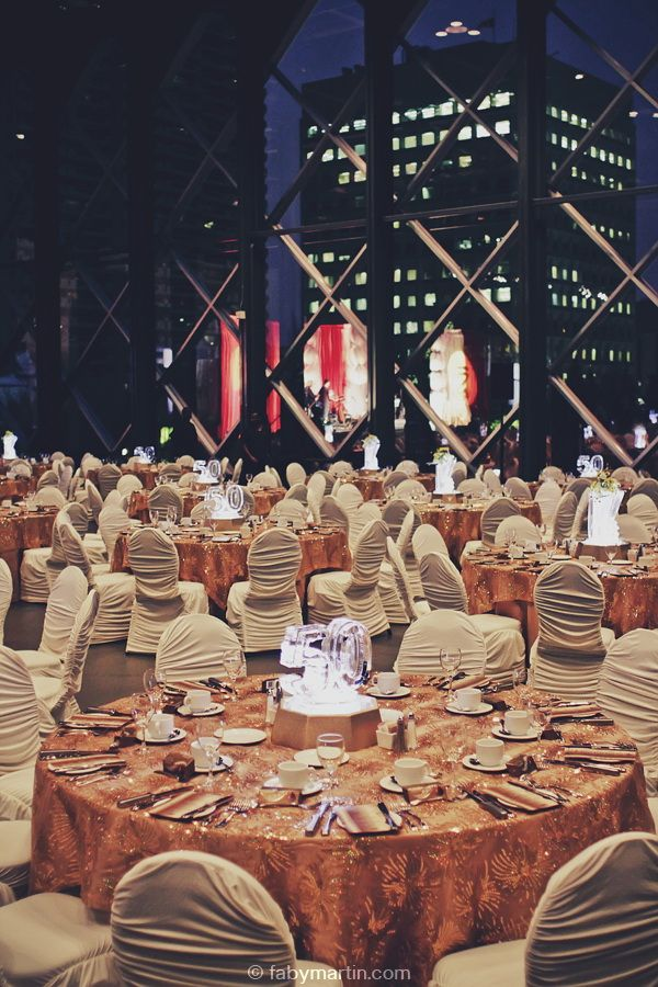 Beautiful gold room decor, chair covers, Telus Convention  Centre