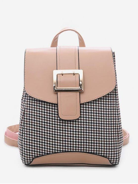 b55d82ffaeaa Plaid Pattern Buckle School Backpack - ORANGE PINK Popular Handbags
