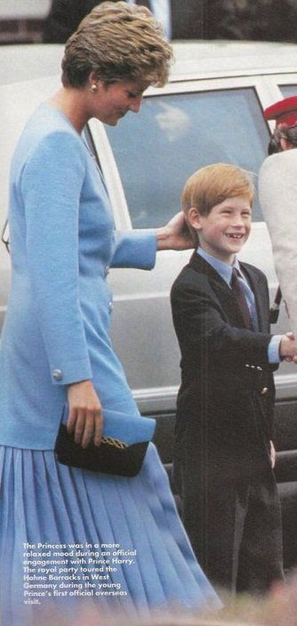 The Princess of Wales and Prince Harry on his first official overseas visit to tour Hohne Barracks in West Germany.