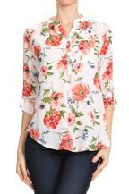 Floral printed top with optional roll up sleeves, mandarin collar, button up closure, chest pocket, and ...