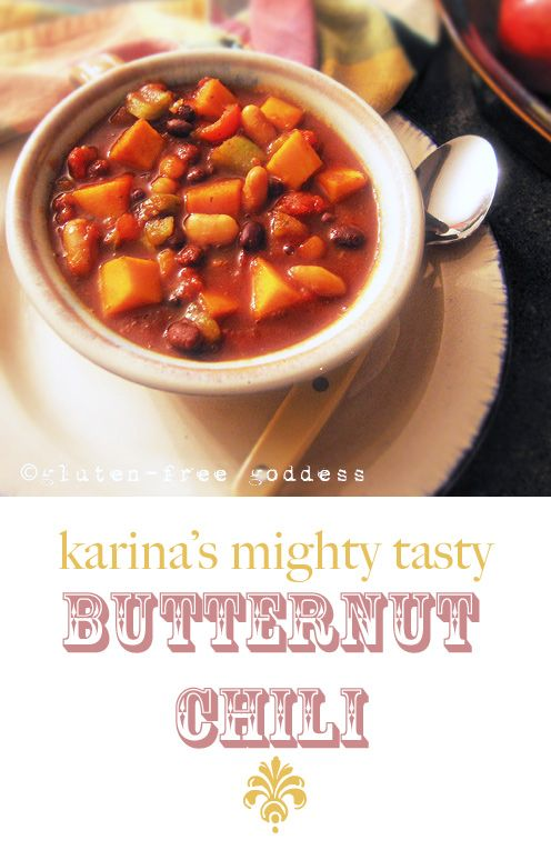 Karina's tasty butternut and bean chili has a fresh, vibrant taste with a Southwestern twist. The secret ingredient? Lime. Adding a splash of lime juice just before serving brightens the flavor and teases your taste buds.
